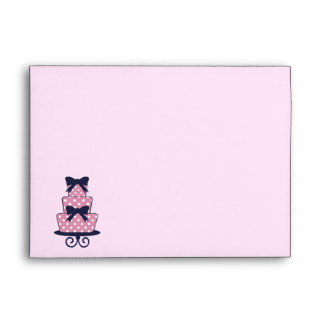 Pink and Navy Wedding cake Save the date envelope
