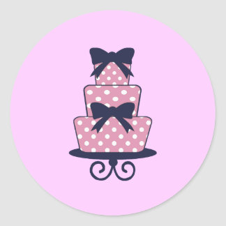 Pink and Navy Wedding cake sticker