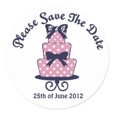 Pink and Navy Wedding cake sticker Design features a three tier wedding