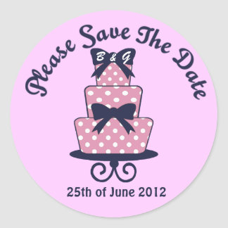Pink and Navy Wedding Save the date cake sticker
