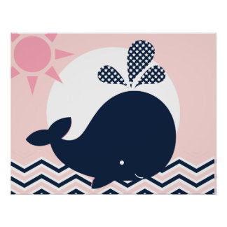 Pink and Navy Whale Nursery Poster