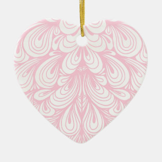 Pink and Off White Abstract Swirl Pattern Ceramic Ornament
