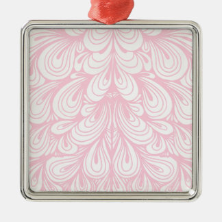 Pink and Off White Abstract Swirl Pattern Metal Ornament