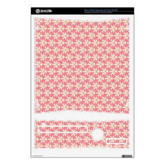 Pink and Off-white Floral Damask Pattern Xbox 360 S Decals