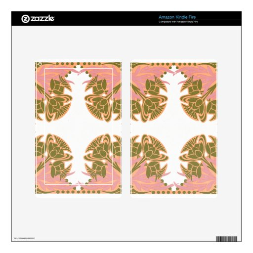 Pink and Olive Floral Kindle Fire Skin