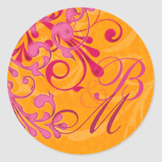 Pink and Orange Abstract Floral Envelope Seal Round Sticker