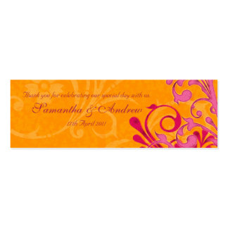 Pink and Orange Abstract Floral Favour Tags Double-Sided Mini Business Cards (Pack Of 20)