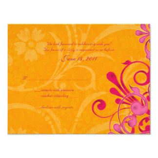 Pink and Orange Abstract Floral Response Card