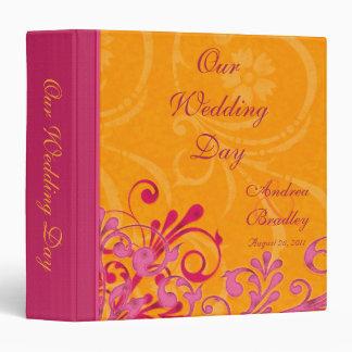 Pink and Orange Abstract Floral Wedding Binder