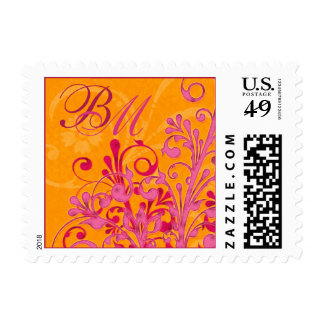 Pink and Orange Abstract Floral Wedding Postage