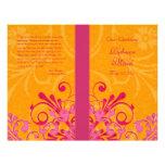 Pink and Orange Abstract Floral Wedding Program Flyer Design
