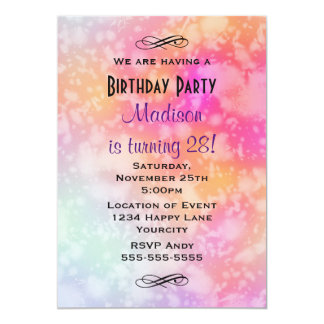 Pink and Orange Abstract Watercolor Birthday Card