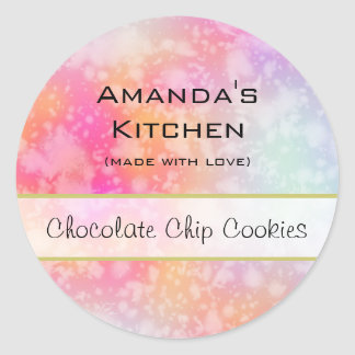 Pink and Orange Abstract Watercolor Kitchen Classic Round Sticker