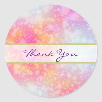 Pink and Orange Abstract Watercolor Thank You Classic Round Sticker