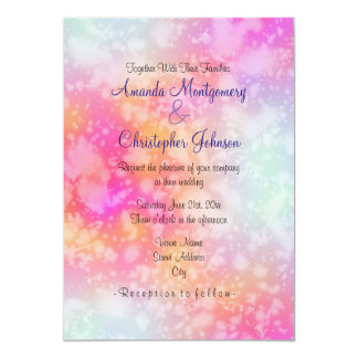 Pink and Orange Abstract Watercolor Wedding Card