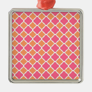 Pink and Orange Argyle Diamond Tile Pattern Gifts Metal Ornament