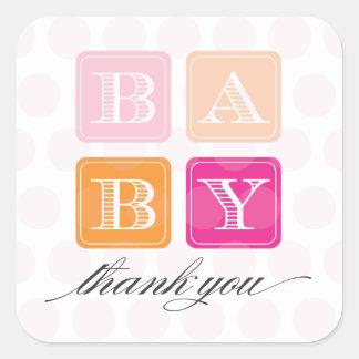 Pink and Orange Blocks Baby Shower Favor Sticker