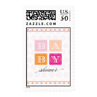 Pink and Orange Blocks Baby Shower Postage Stamp