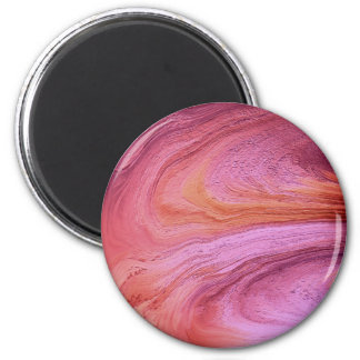 Pink and Orange bright Metallic Paint Abstract Art 2 Inch Round Magnet