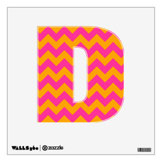 Pink and Orange Chevron Letter D Wall Decal
