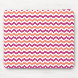 Pink and Orange Chevron Mouse Pad