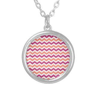 Pink and Orange Chevron Round Pendant Necklace