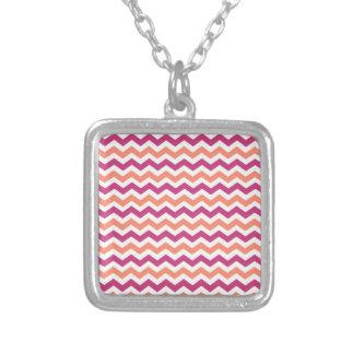Pink and Orange Chevron Square Pendant Necklace