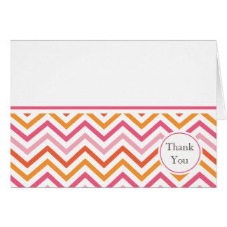 Pink and Orange Chevron Thank You Card
