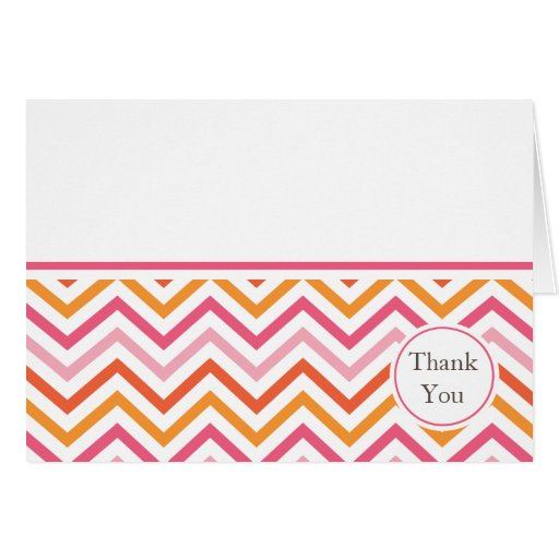 Pink and Orange Chevron Thank You Card