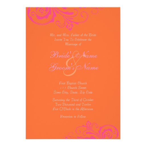 Pink And Orange Chic Wedding Invitation Zazzle