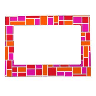 Pink and Orange Color Block Magnetic Frame