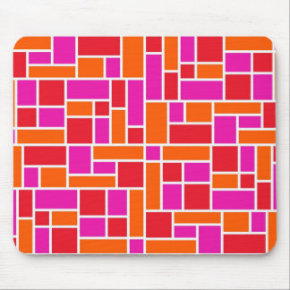 Pink and Orange Color Block Mouse Pad