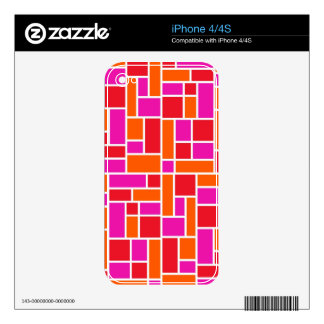 Pink and Orange Color Block iPhone 4S Decal
