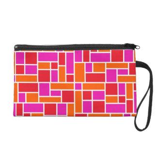 Pink and Orange Color Block Wristlet Bag