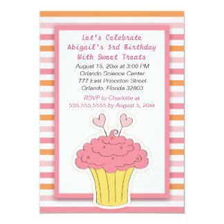 Pink and Orange Cupcake Birthday Invitations