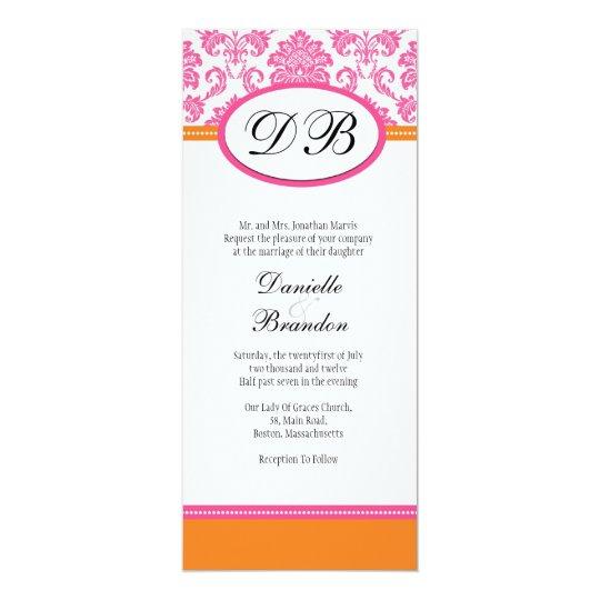 Pink And Orange Damask Monogram Wedding Invitation Zazzle
