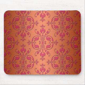 Pink and Orange Damask Mouse Pad
