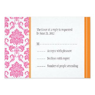Pink and Orange Damask RSVP Cards