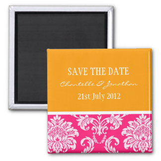 Pink and Orange Damask Save The Date Magnet