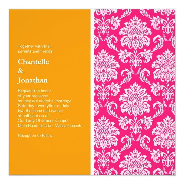 Pink And Orange Damask Wedding Invitation