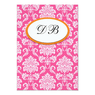 "Pink and Orange Damask Wedding Table Number 5"" X 7"" Invitation Card"