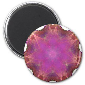pink and orange Energized Heart fractal mandala Magnets