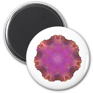 pink and orange Energized Heart fractal mandala Fridge Magnet