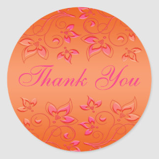 "Pink and Orange Floral 1.5"" Round Wedding Sticker"