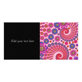 Pink and Orange Floral Abstract Art Personalized Photo Card