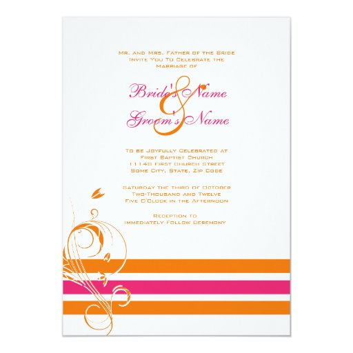 Pink And Orange Floral Bars Wedding Invitation Zazzle