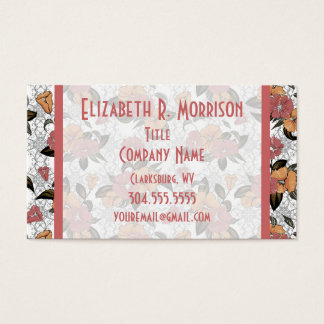 Pink and Orange Floral Business Card
