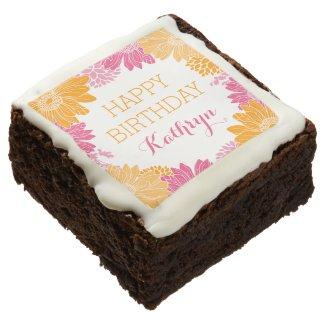 Pink and Orange Floral Custom Happy Birthday Chocolate Brownie