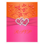 Pink and Orange Floral Joined Hearts Reply Card Personalized Announcements