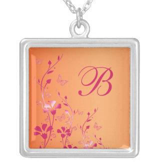 Pink and Orange Floral Monogrammed Necklace